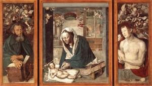 Альбрехт Дюрер. Дрезденский алтарь. Мадонна с младенцем. Святые Антоний и Себастьян.
