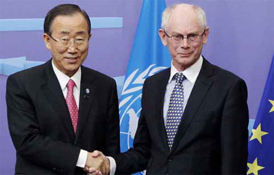 Генеральный секретарь ООН Пан Ги Мун и Генеральный секретарь Европейского союза Герман ван Ромпей.