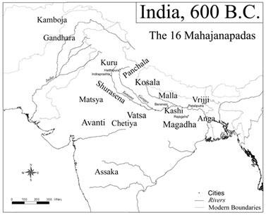 Рис. 2. Махаджанапады (княжества) Древней Индии.