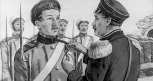 Адмирал Павел Нахимов награждает медалью матроса Петра Кошку