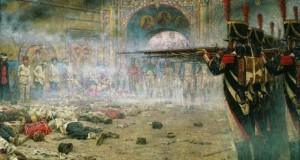 Народ и Церковь одинаково страдали от французской оккупации. В. Верещагин. В покоренной Москве (Поджигатели, или Расстрел в Кремле).1897–1898.
