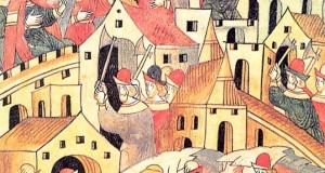 Городское строительство в Москве конца 14 века. Миниатюра летописного свода. 16 век